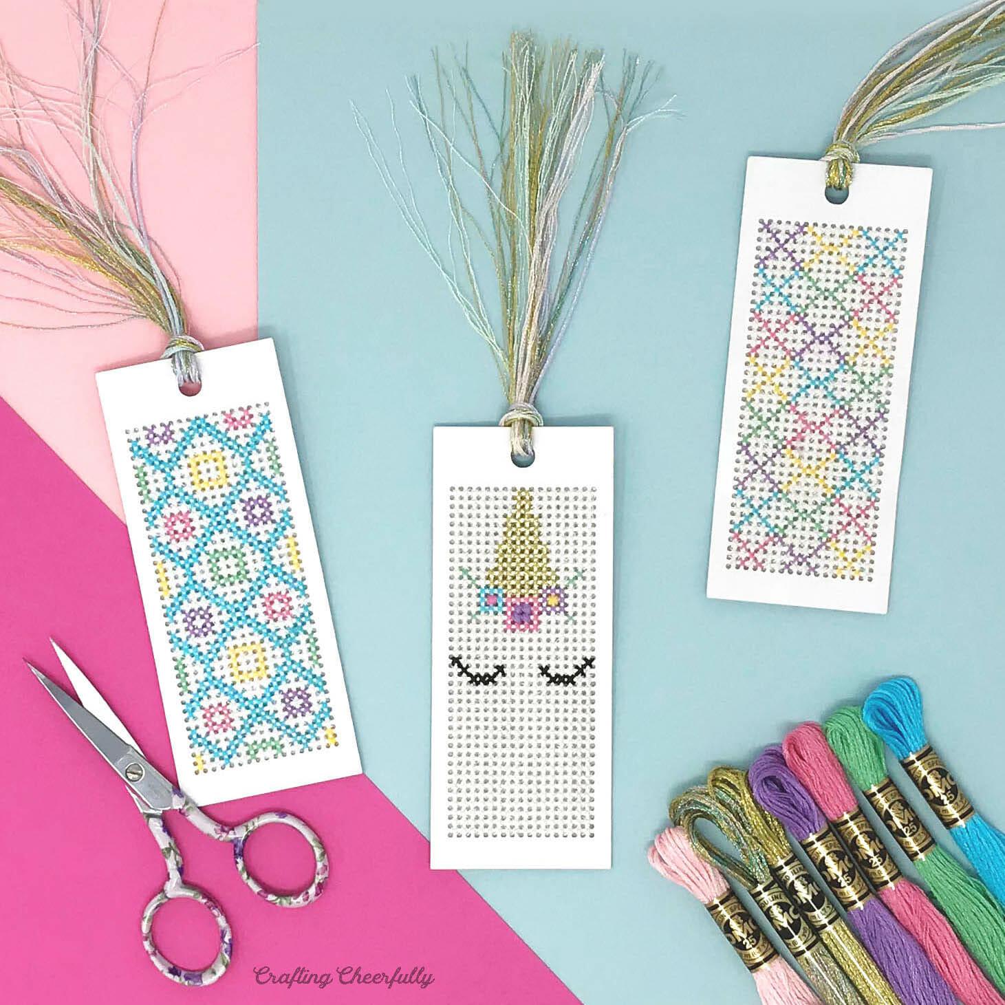 Unicorn Cross-Stitch Bookmarks with Free Pattern