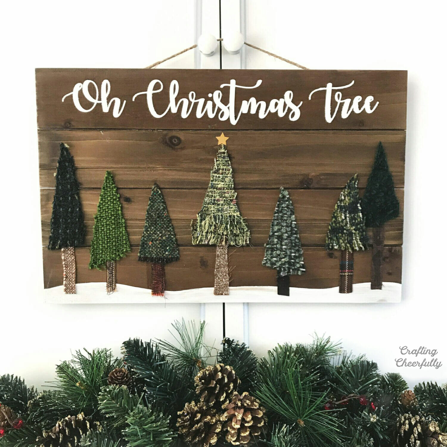 DIY Christmas Tree Wood Sign with Fabric Scraps