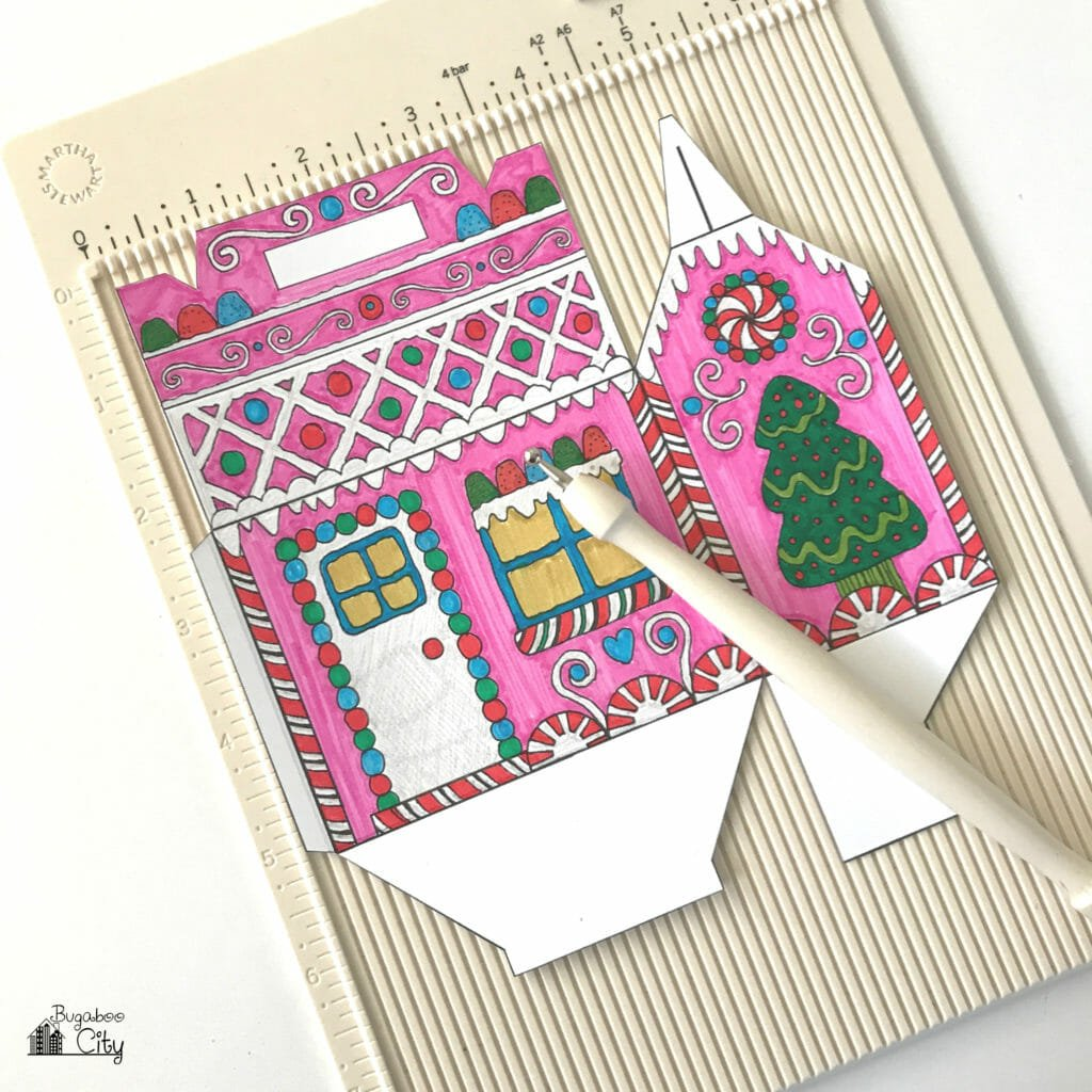 Color-Your-Own Gingerbread House Treat Box with Free Printable