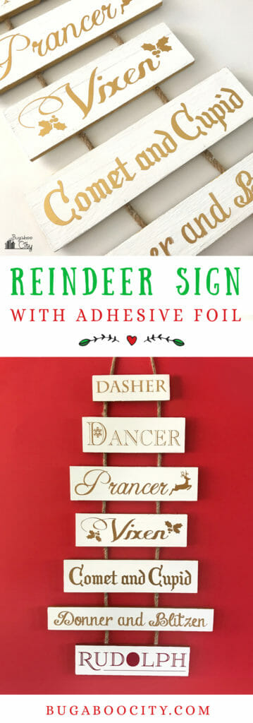 DIY Reindeer Holiday Sign with Cricut Adhesive Foil