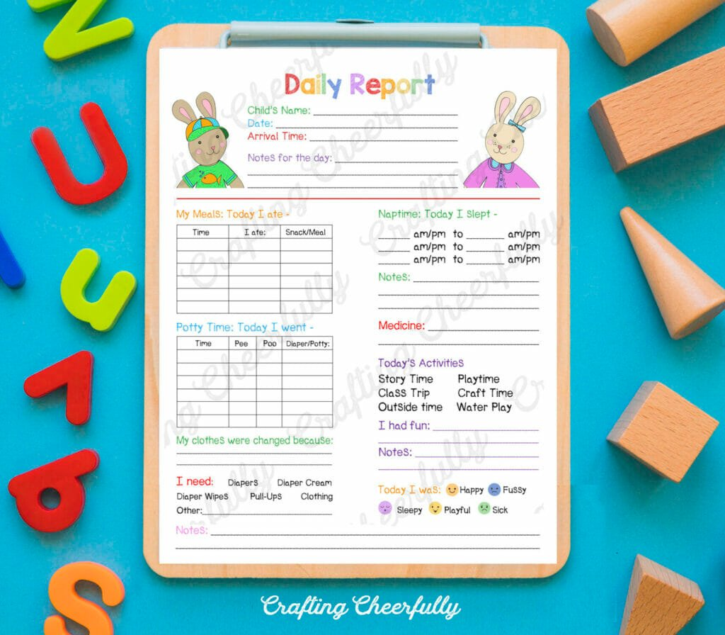 Children's Daily report form on a clipboard surrounded by ABC letters and wooden blocks.