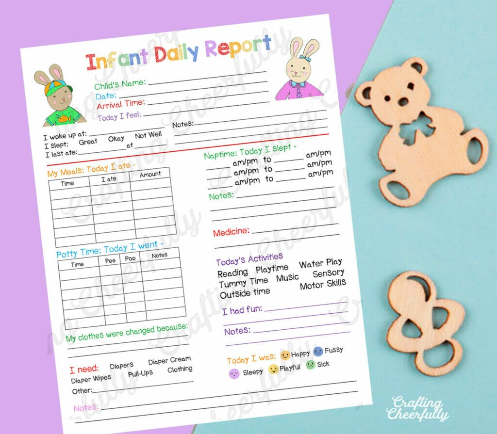 Infant Daily Report form on a purple and light blue background with a wooden teddy bear and pacifier next to it.