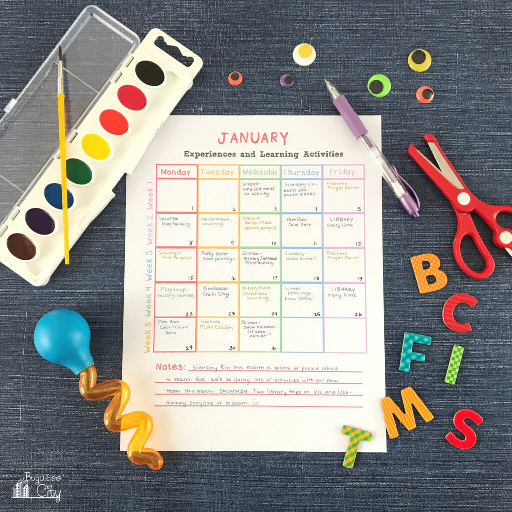 IN-home preschool printable - activity calendar