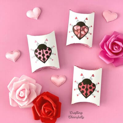 Cute white pillow boxes with pink and red ladybugs on them sitting on a pink surface with hearts and roses.