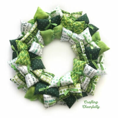 St. Patrick's Day Pillow wreath made with green and white fabrics.