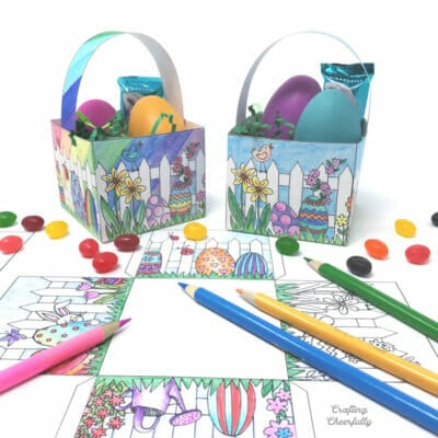 Paper Easter baskets filled with candy and eggs next to a coloring page and colored pencils.