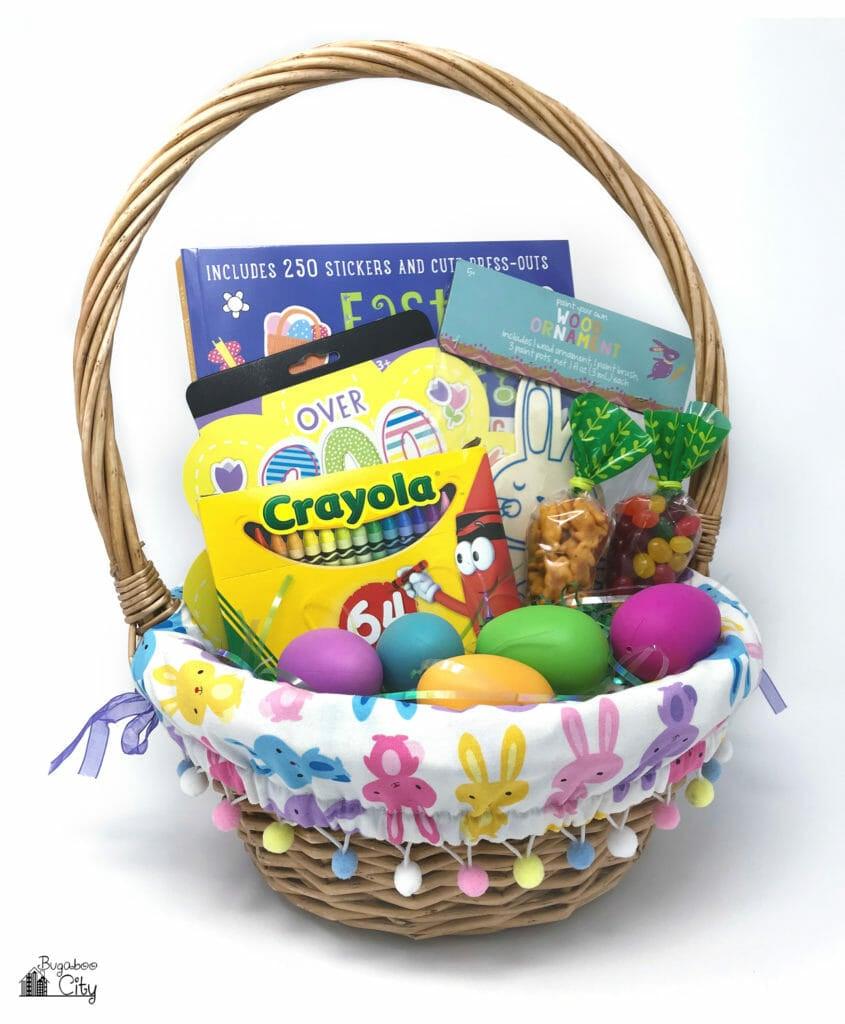 DIY Easter Basket Liner Ann Kelle Bunny Rabbit fabric and Pom-Poms