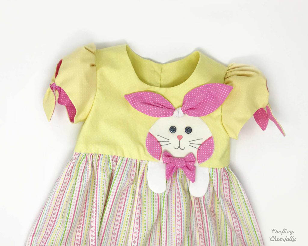 Handmade Bunny Dress with Cute Bunny Applique. Simplicity Pattern 1208 used.