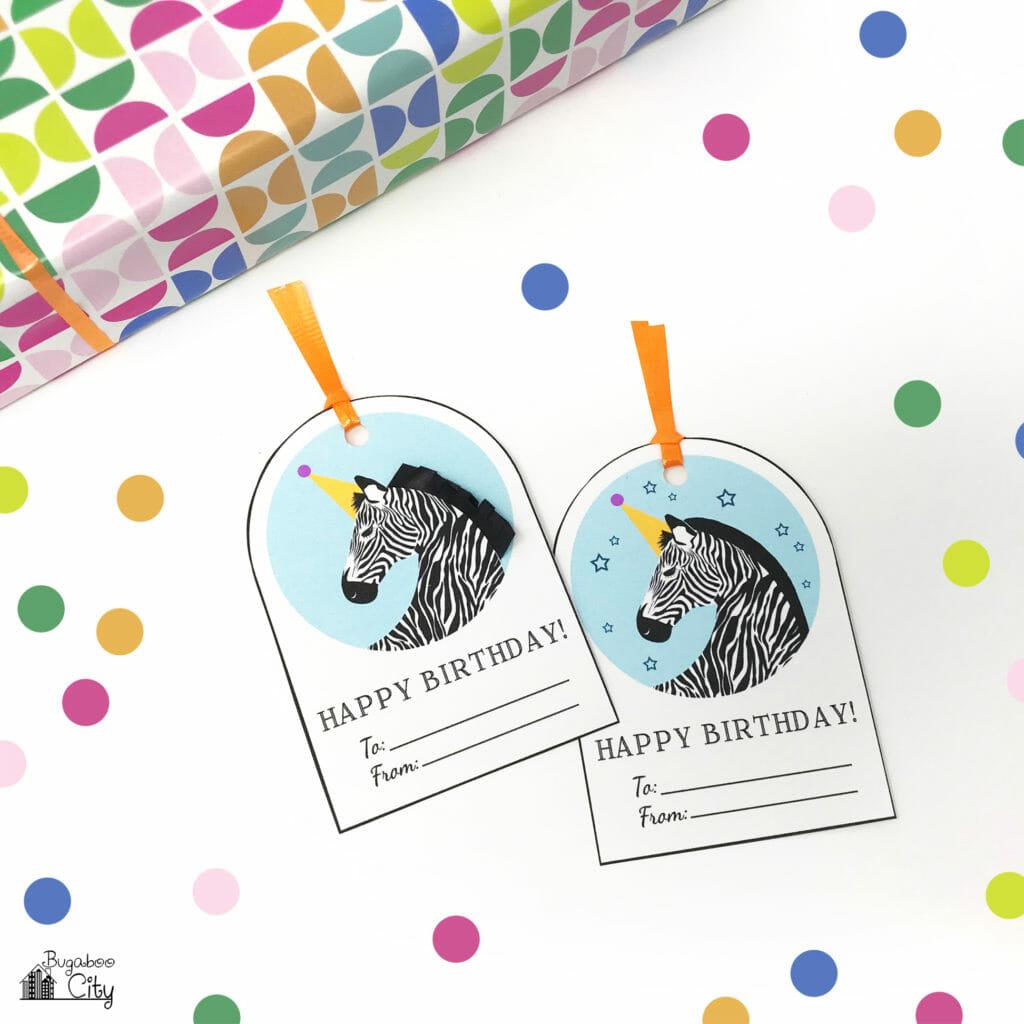 Free Printable Unicorn and Zebra Birthday Tags