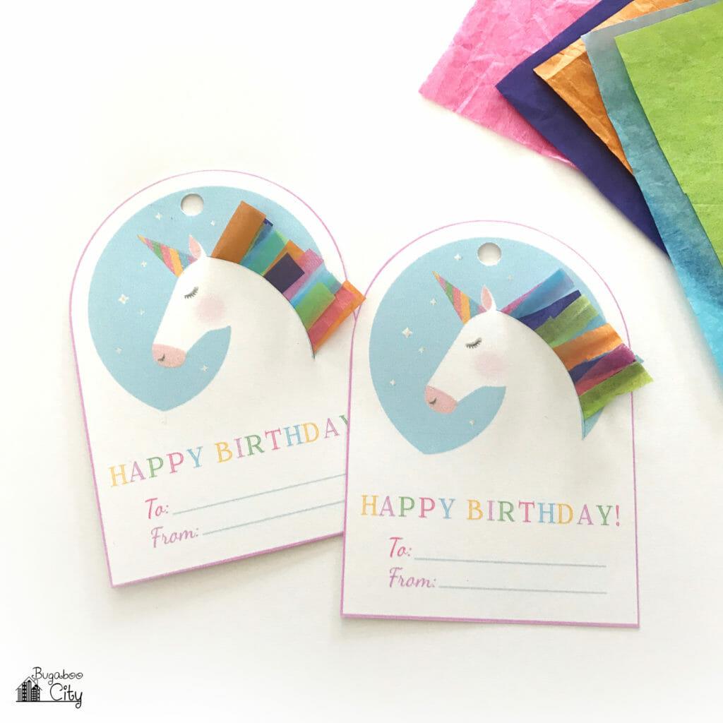 Free Printable Unicorn And Zebra Happy Birthday Tags Crafting Cheerfully