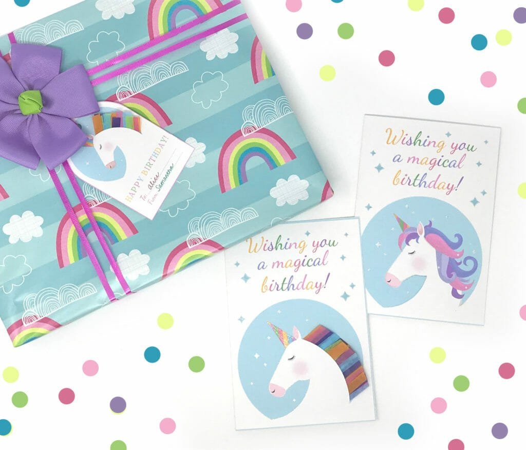 Free Printable Unicorn Gift Tags and Birthday Cards