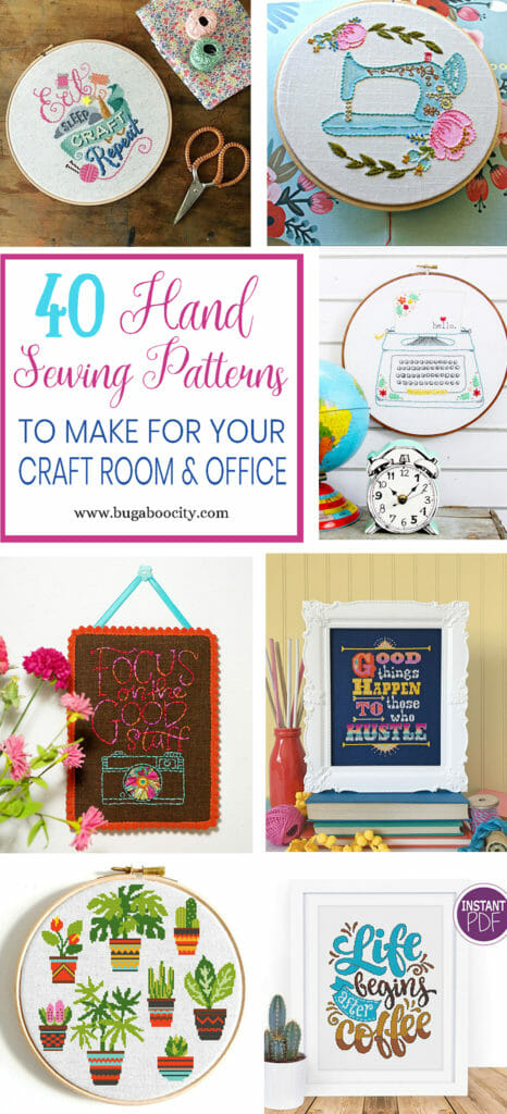 40 Hand Sewing Patterns - Cross Stitch and Embroidery - for your Office, Sewing Room or Craft Room