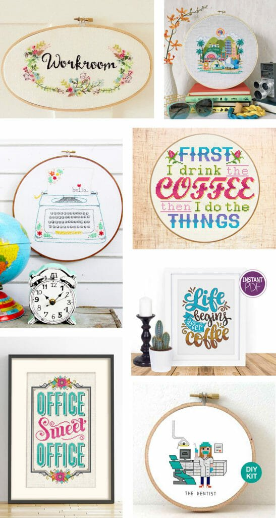 40 Hand Sewing Patterns To Make for Your Craft Room and Office - Cross Stitch and Embroidery