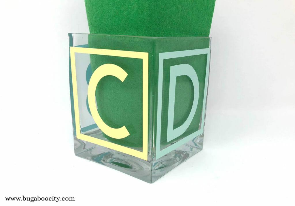 DIY ABC Baby Block Vase with free SVG Cut File