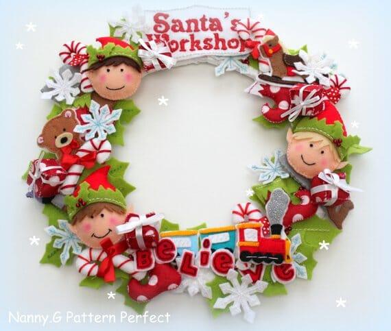 Santa's Workshop Felt Christmas Wreath Pattern by Nanny G Pattern Perfect