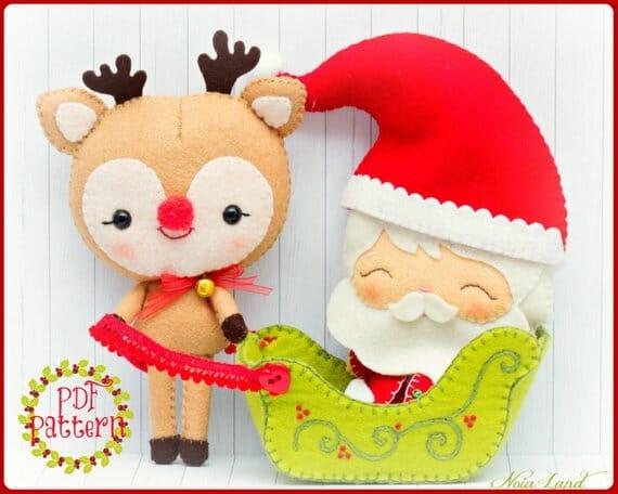 Reindeer and Santa Felt Pattern Noia Land
