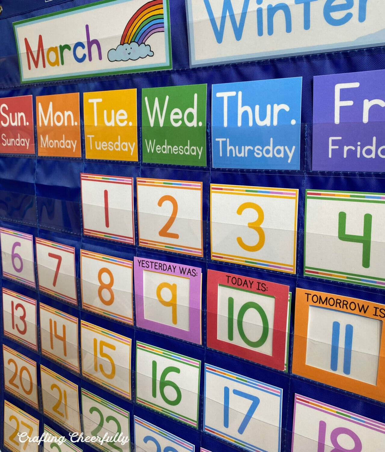 Close up picture of the pocket chart calendar.