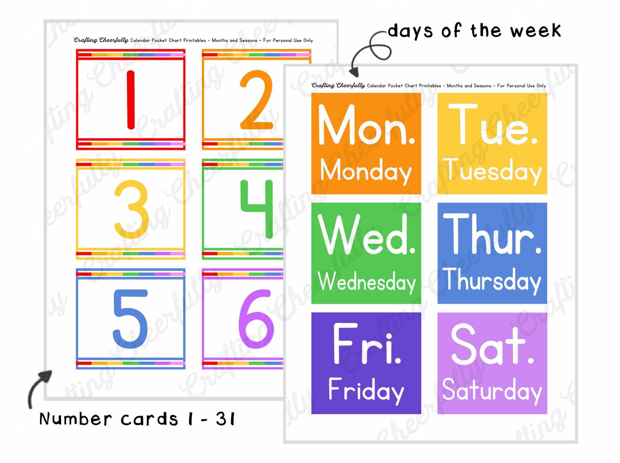 Pocket chart calendar printables.