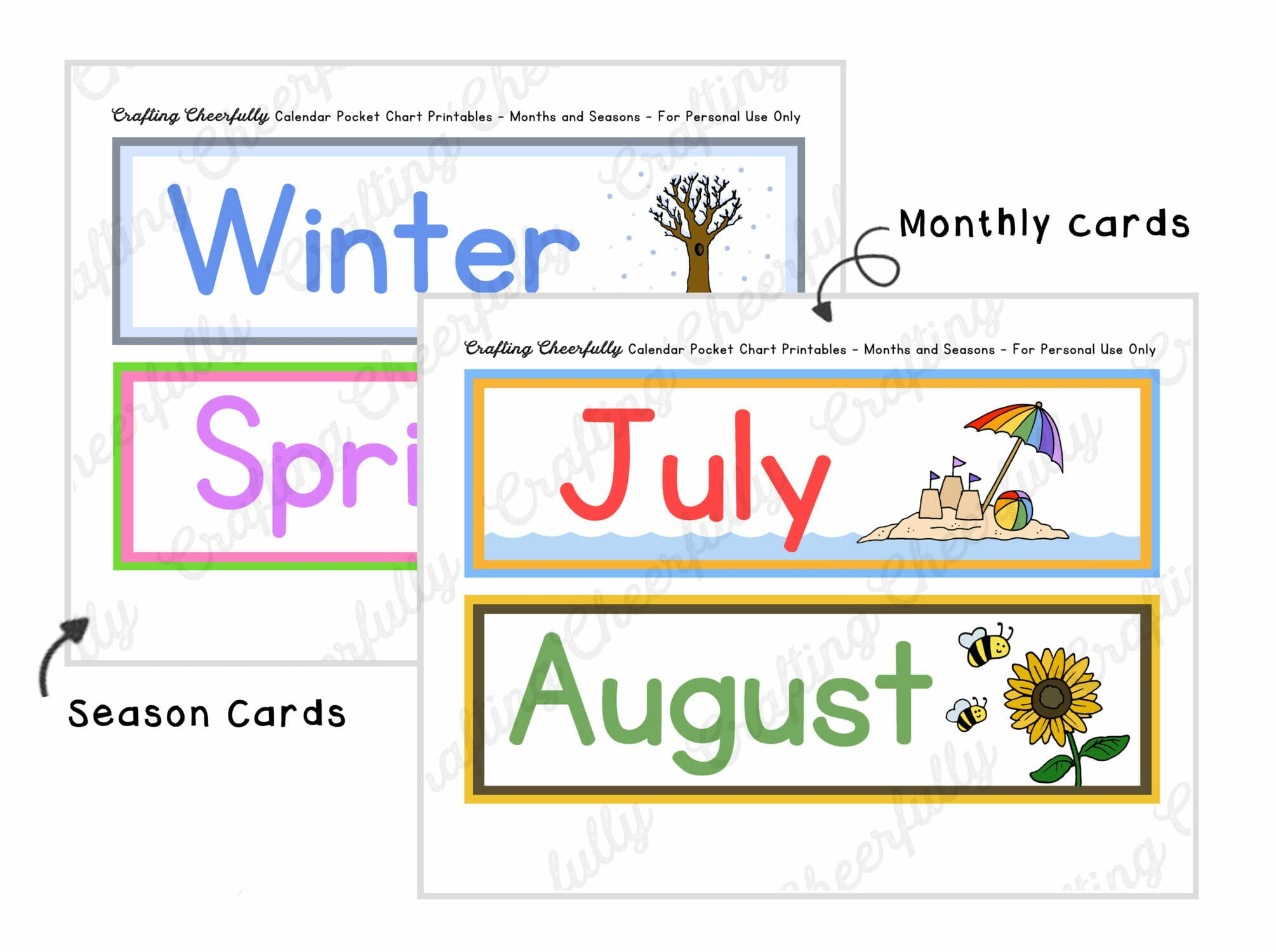 Pocket chart printables showing monthly cards.