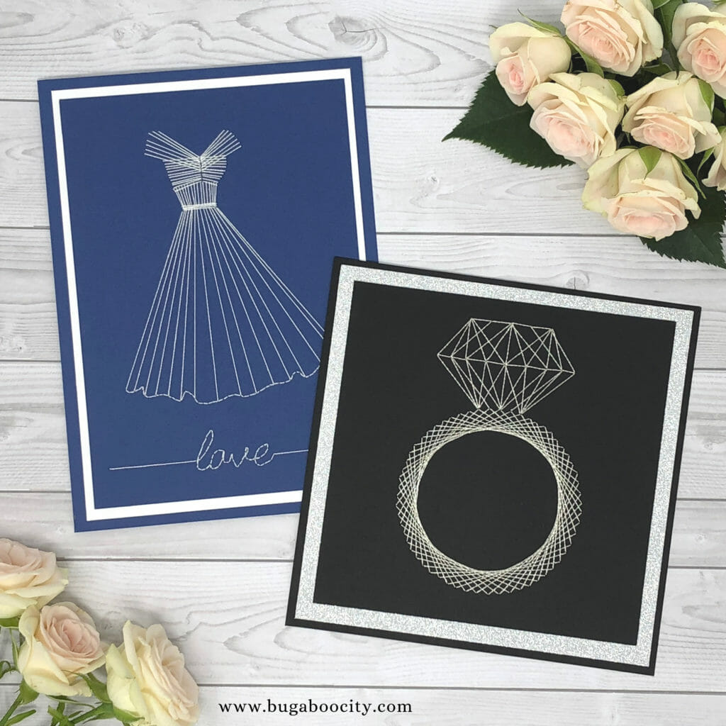 DIY Embroidered Wedding Card - Free Wedding Ring Template