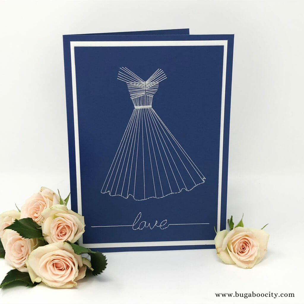 DIY Embroidered Dress Card - Wedding, Bridal Shower, Birthday, Mother's Day Card