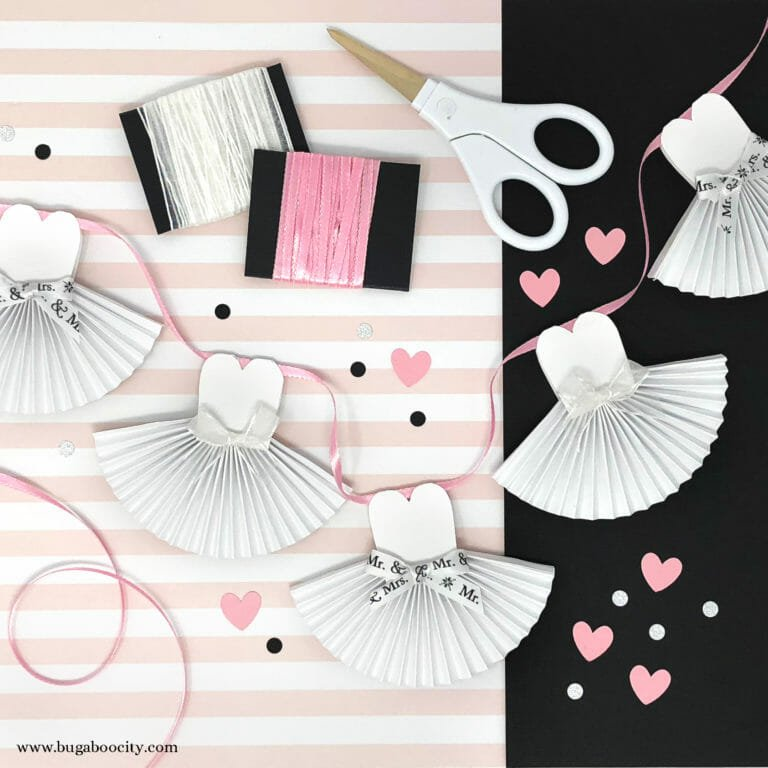 DIY Paper Wedding Dress Banner