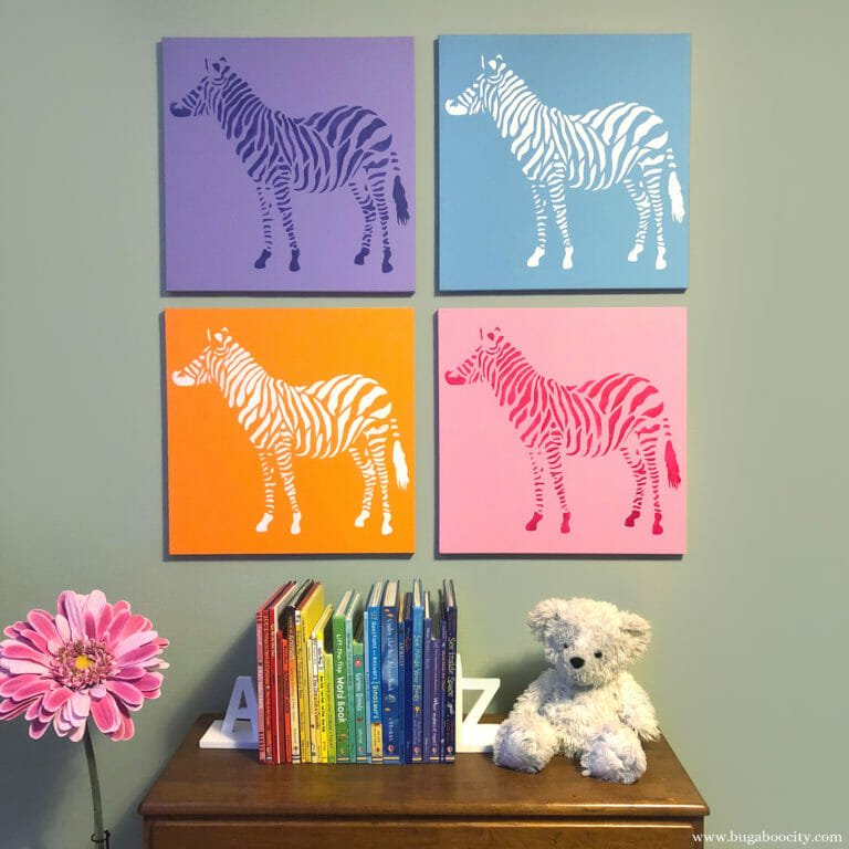DIY Zebra Stenciled Canvas Art – Pop Art Inspired