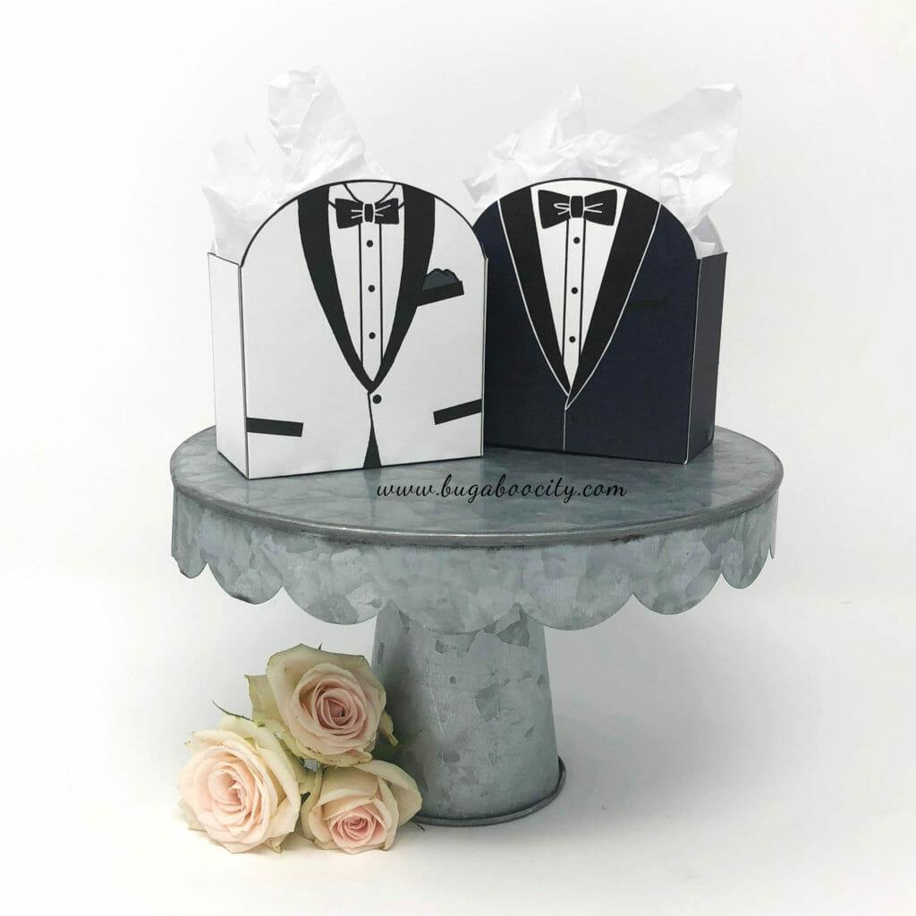 DIY Groom Treat Box, tuxedo treat box, 12 menswear styles