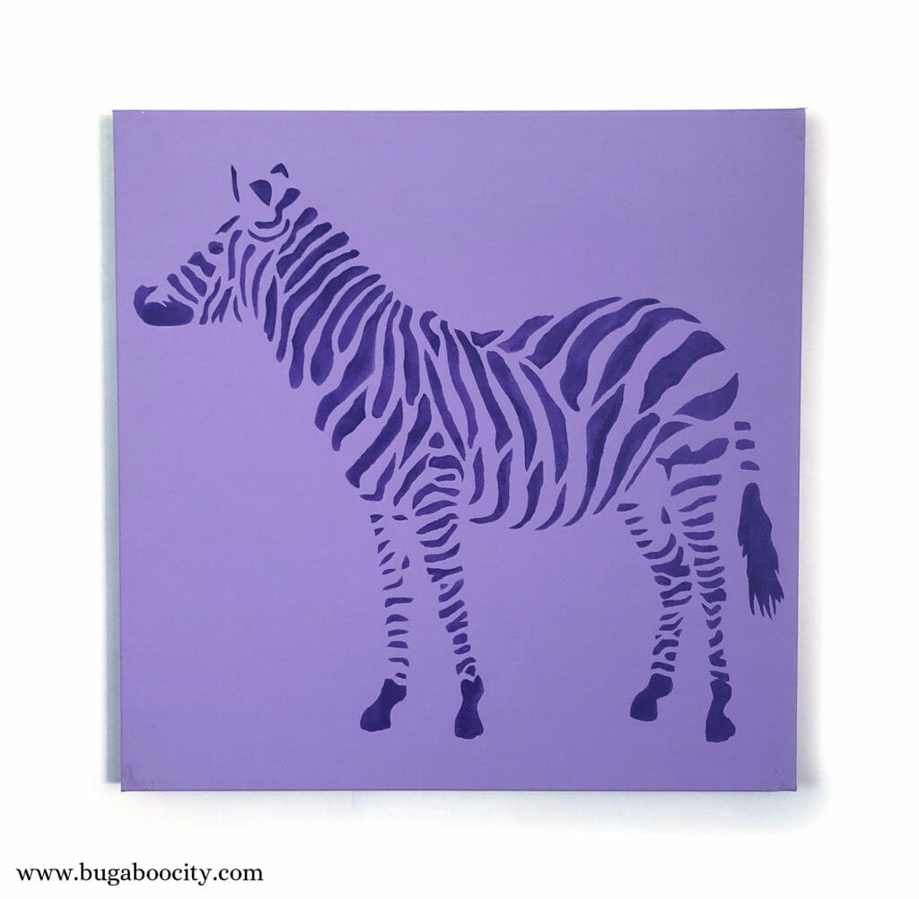 DIY Zebra Stenciled Canvas Art