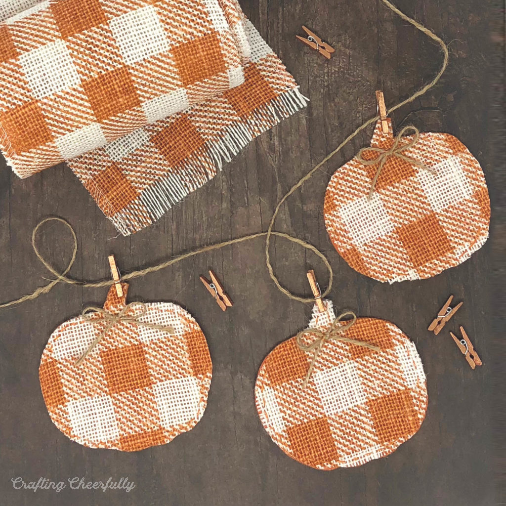 Pumpkin banner made from buffalo check burlap