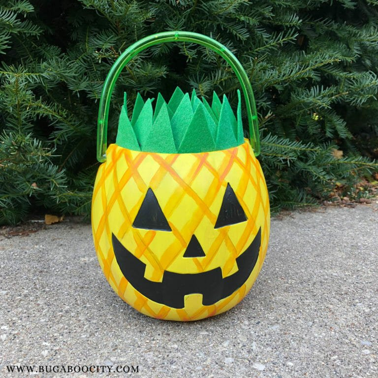 DIY Pineapple Jack-o'-Lantern Treat Bucket
