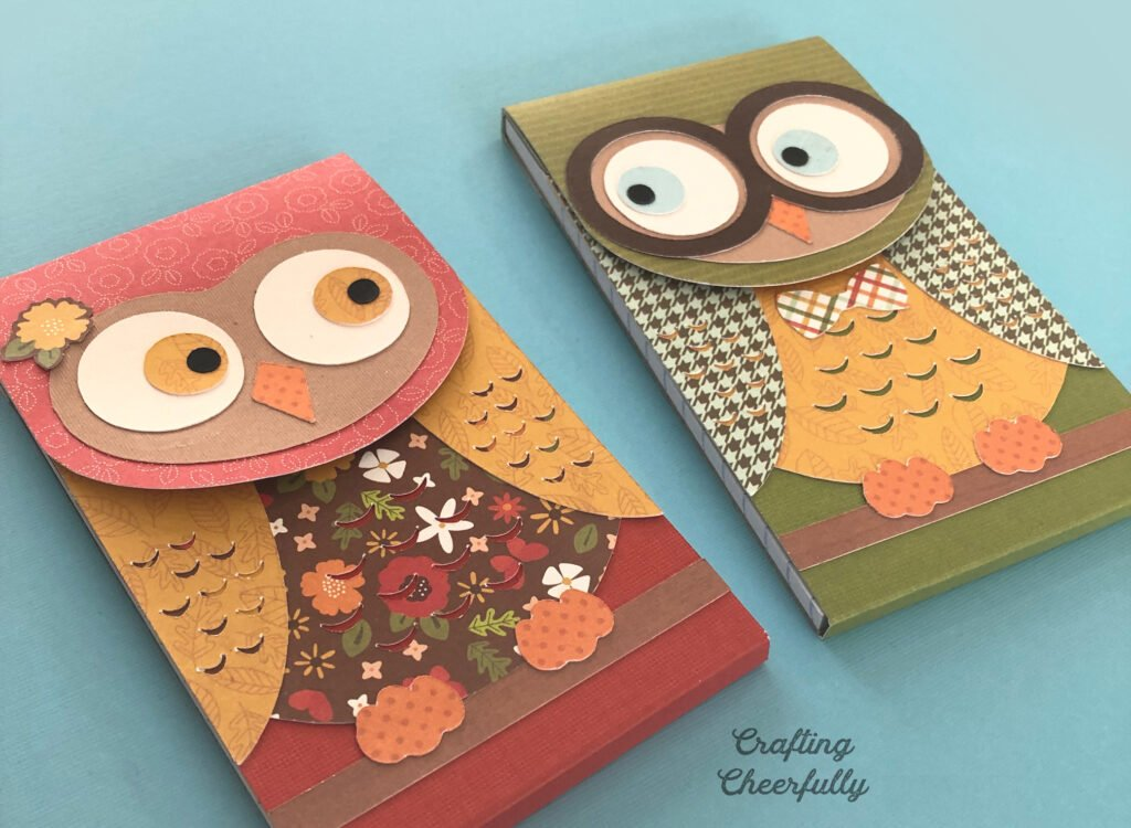 Owl notepads made from Autumn-themed papers and prints.