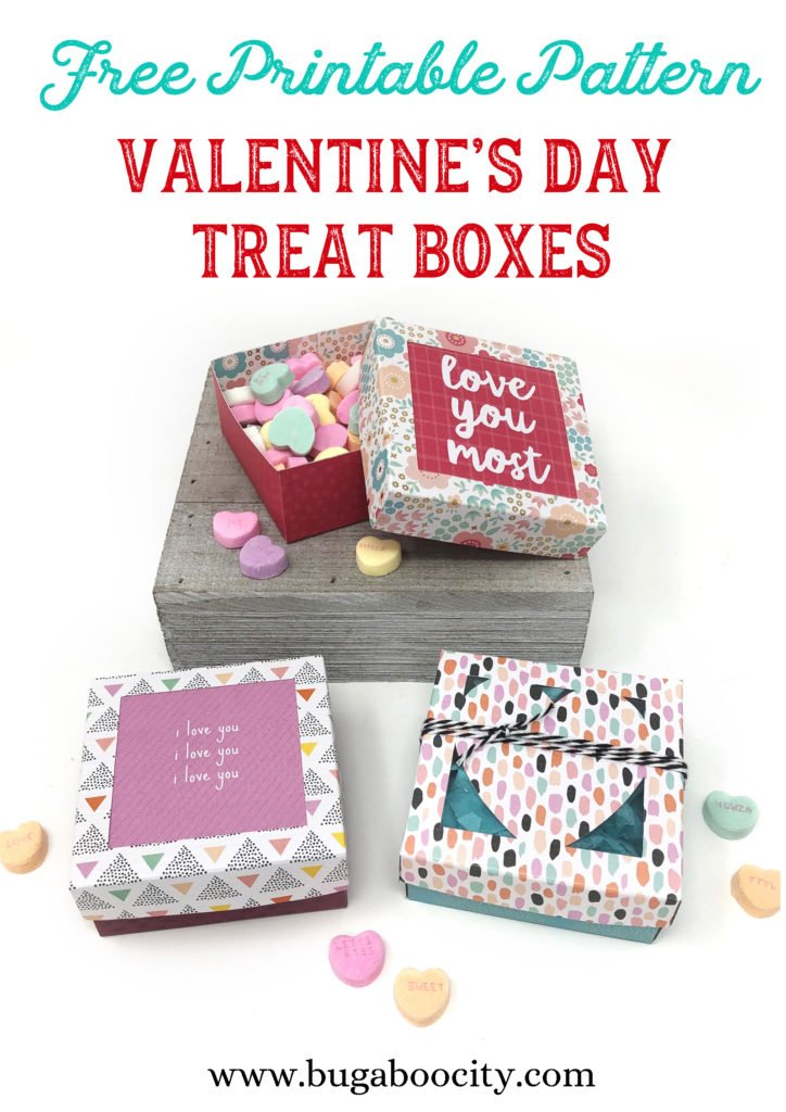 Free Printable Pattern Valentine's Day Treat Boxes