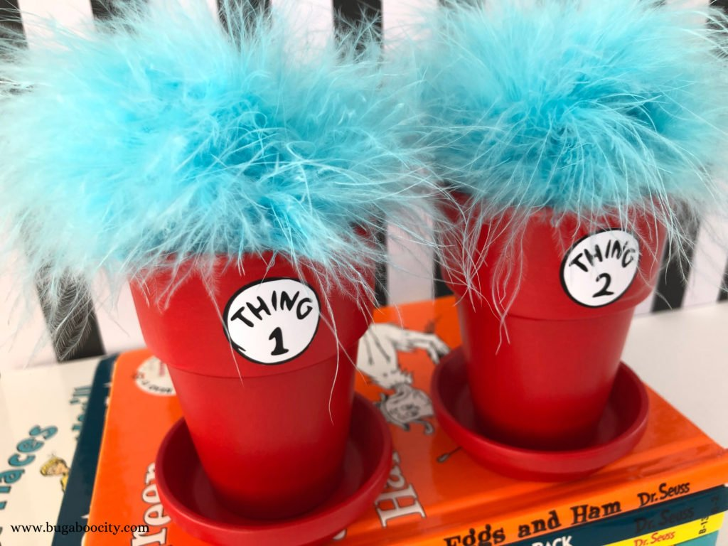 Thing 1 and Thing 2 Flower Pots - Dr. Seuss DIY Craft
