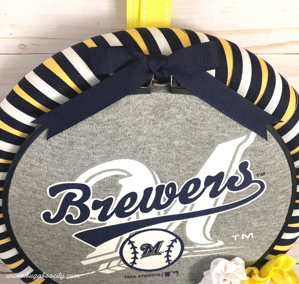 DIY Baseball Wreath Tutorial - Made from an upcycled baby onesie!
