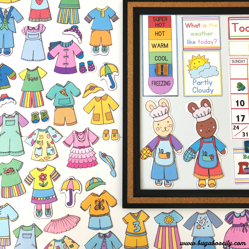 DIY Children's Calendar - Free Printable Weather Bunnies and Clothing