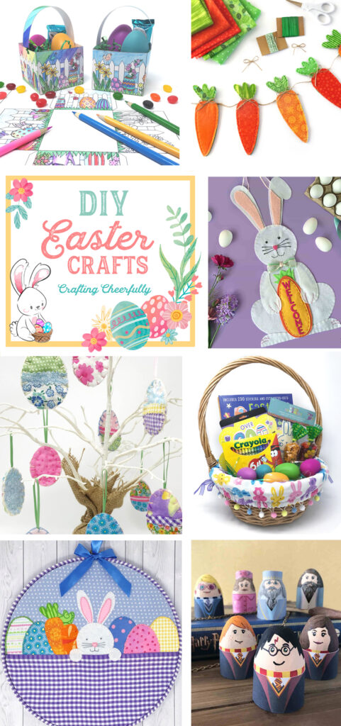 """A collage of 7 DIY Easter craft projects with the words """"DIY Easter Crafts by Crafting Cheerfully""""."""