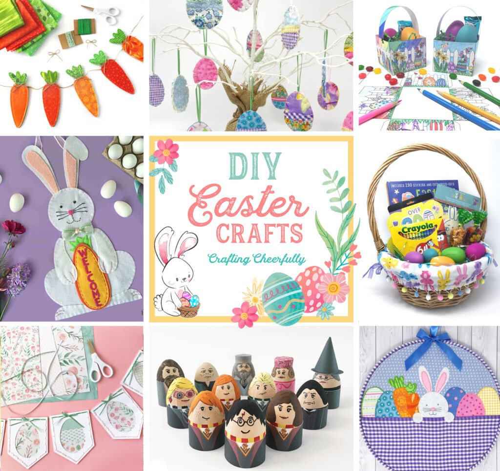 """A collage of 8 DIY Easter craft projects with the words """"DIY Easter Crafts by Crafting Cheerfully"""" written in the center."""