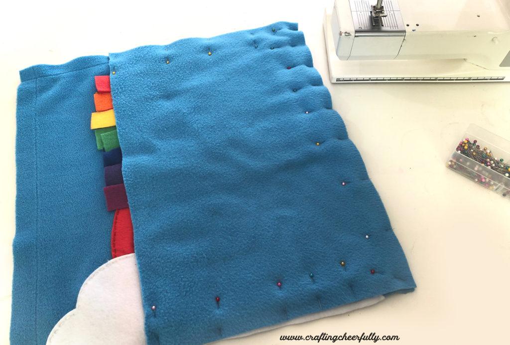 DIY Rainbow Fleece Pillow with Free Pattern