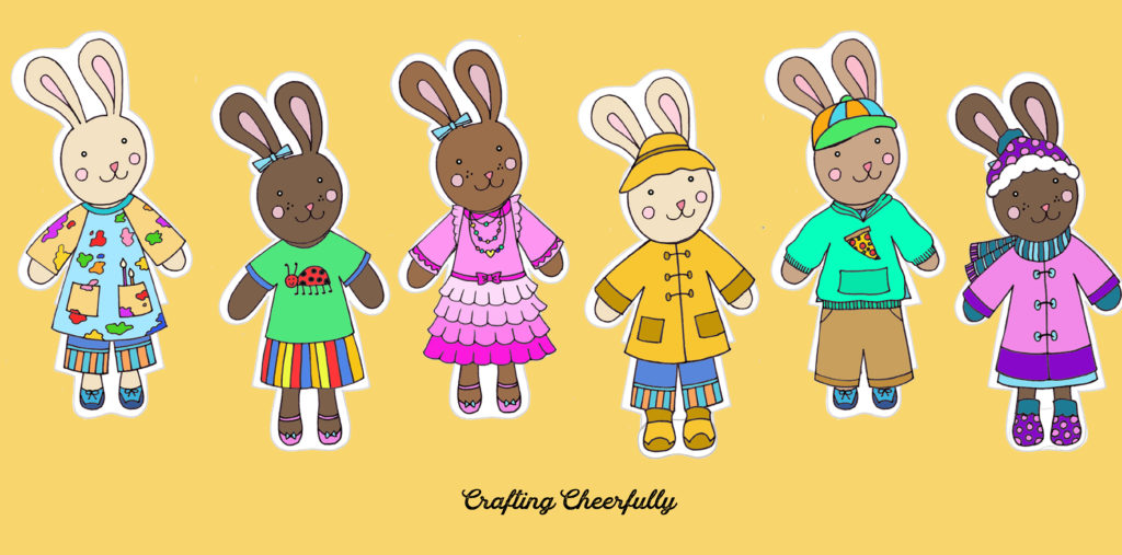 Cute little bunnies dressed up in fun colorful clothes!