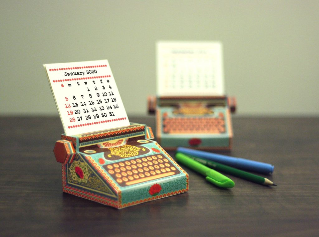 SkyGoodies Printable Typewriter Calendar