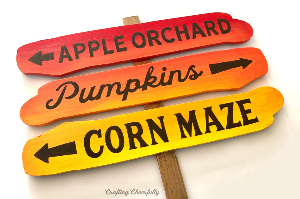 DIY Autumn Ombre Sign - Using the Pencil Transfer Method