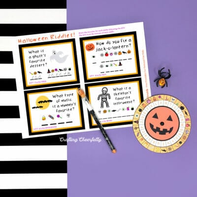 Halloween decoder wheel printable with pumpkin decoder.