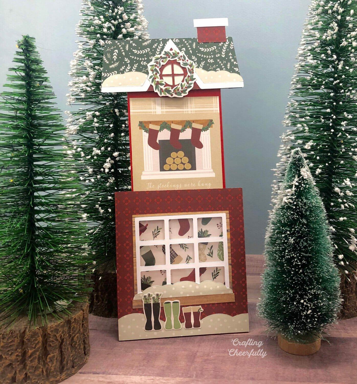 Christmas Cottage Slider Card SVG Cut File