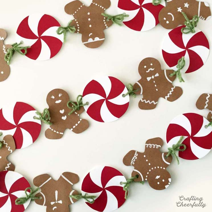 Gingerbread and peppermint paper banner
