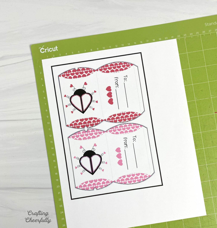 Print then Cut Love Bug Pillow Boxes on a Cricut Standard Mat.