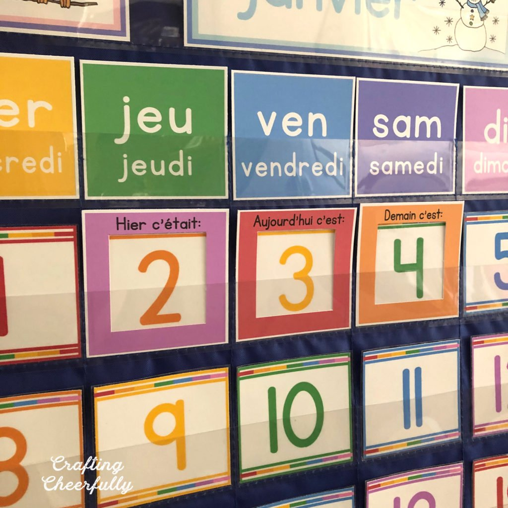 Pocket Chart Calendar printables now in French and Spanish
