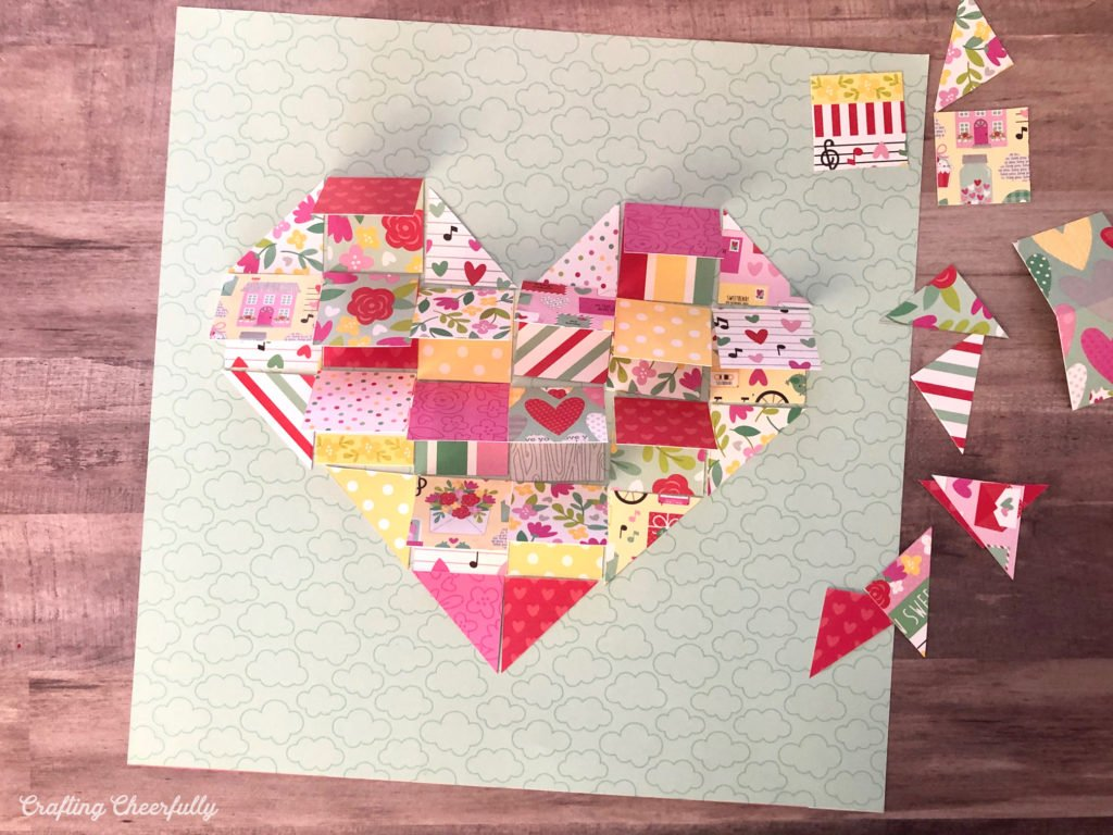 Valentine's Day Countdown is made from flaps of paper and triangles to form a heart.