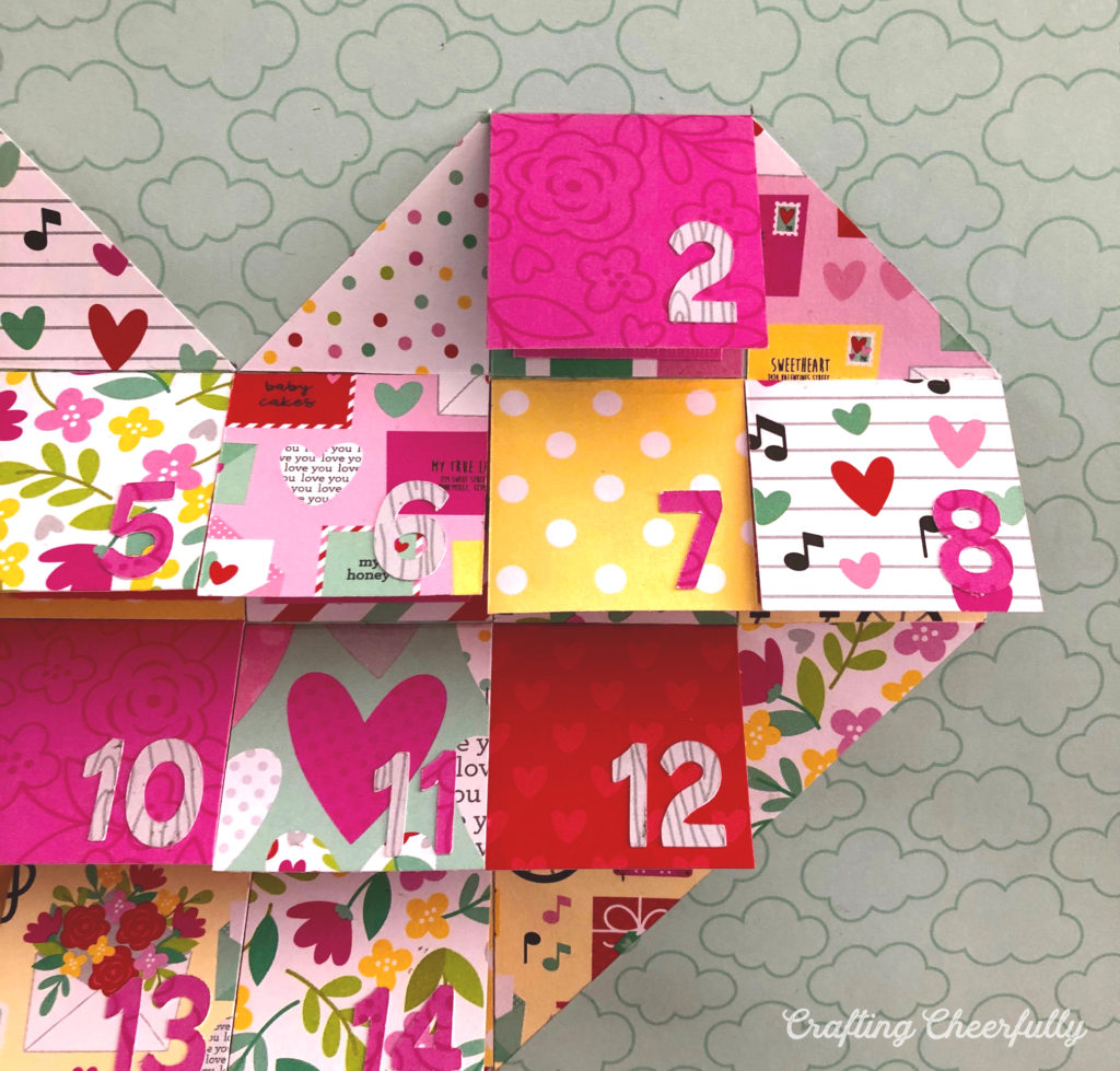 Close up picture of the Valentine's Day Countdown. It is shaped like a heart with 14 flaps to lift up.