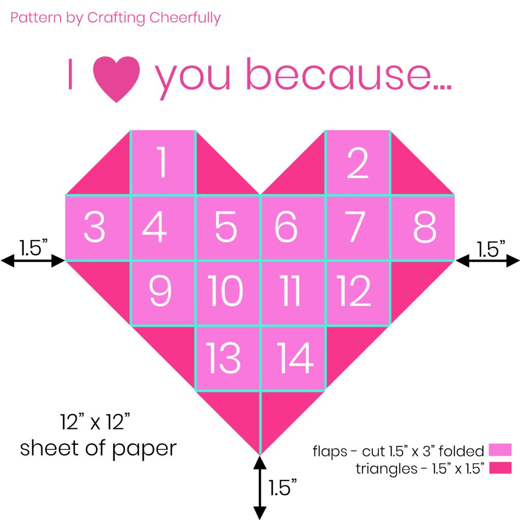 Pattern for Valentine's Day Countdown with dimensions.
